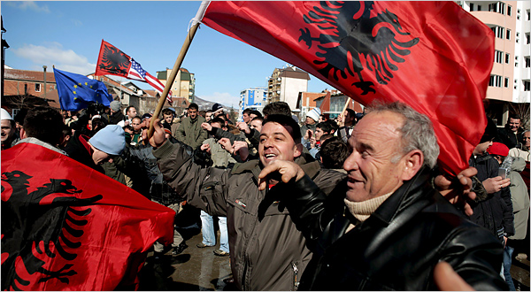 Ethnic Albanians celebrate Kosovo�s declaration of independence